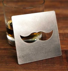 mustache coaster bottle opener